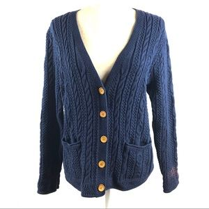 L.L. Bean Navy Cable Knit Button Cardigan Sweater